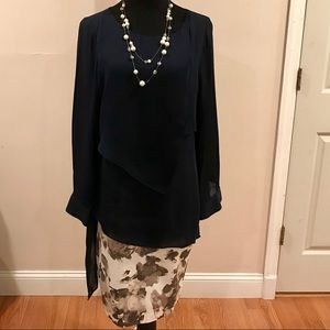 WHBM Navy tiered blouse